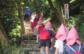 第2次避難場所である正法寺山へ避難訓練をする様子。