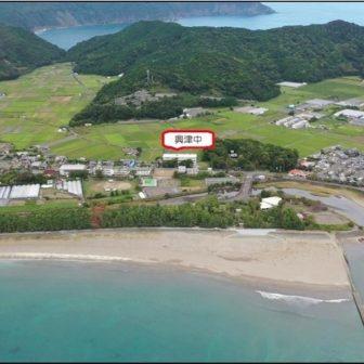 空から見た興津地区 中央が興津中学校